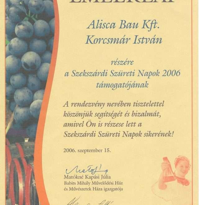 2006.09.15. Emléklap Szüreti napok támogatásáért