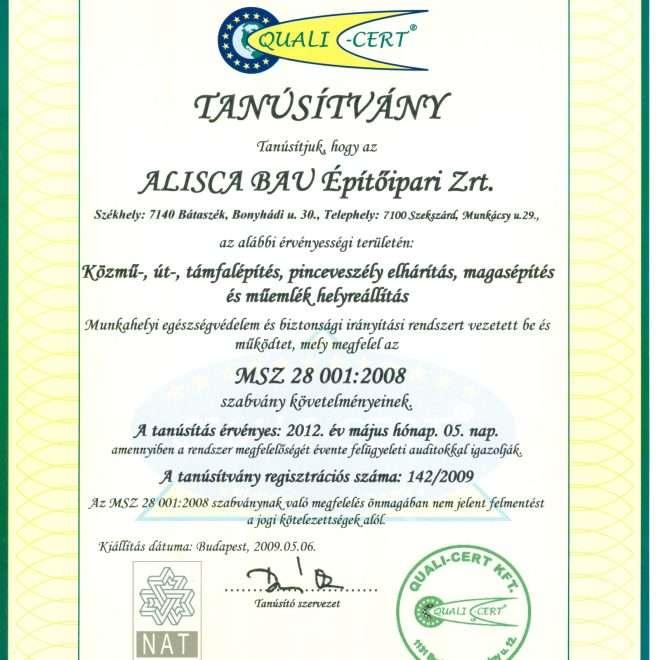 2009.05.06. ISO 280012008 tanúsítvány