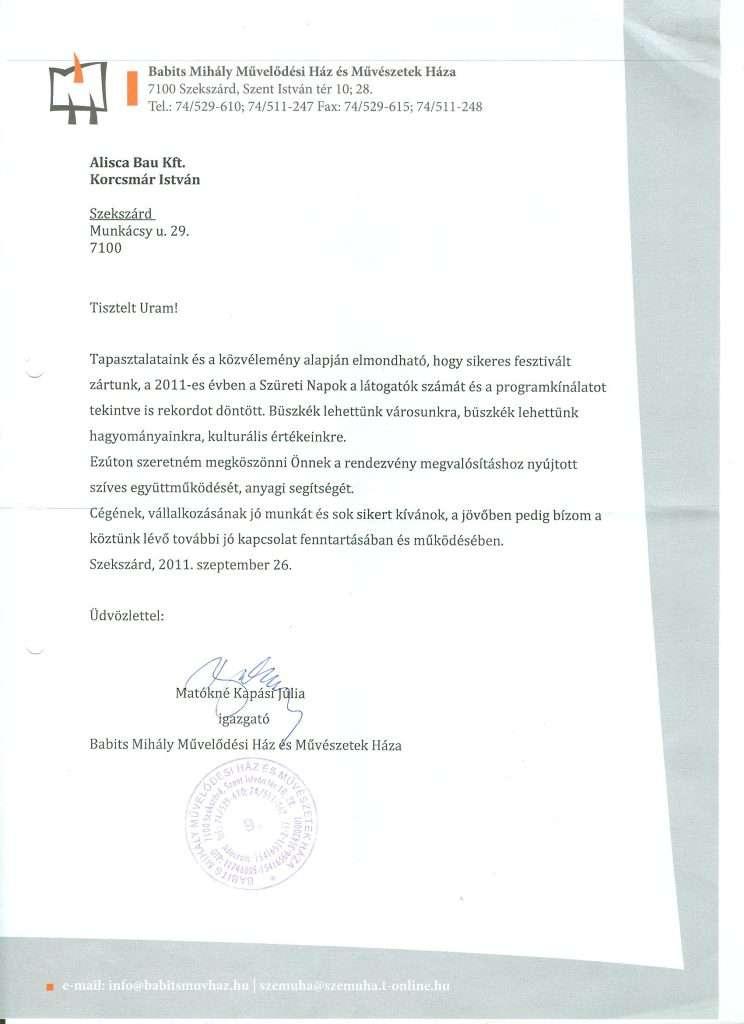 2011.09.26. Köszönőlevél Szekszárdi Szüreti Napok támogatása 2011