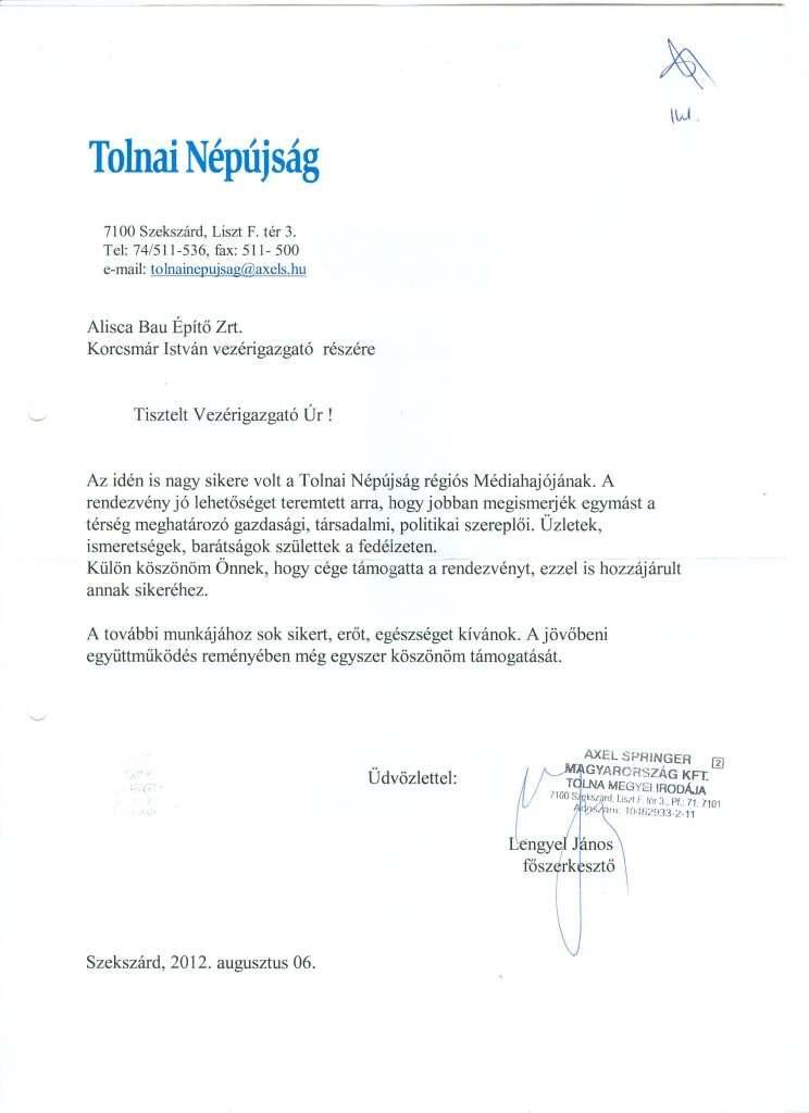 2012.08.06. Köszönőlevél Médiahajó támogatása