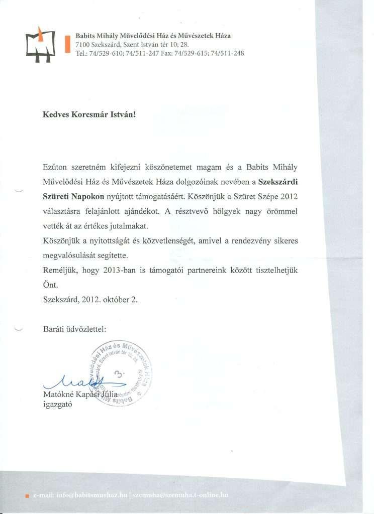 2012.10.02. Köszönőlevél Szekszárdi Szüreti Napok támogatása 2012