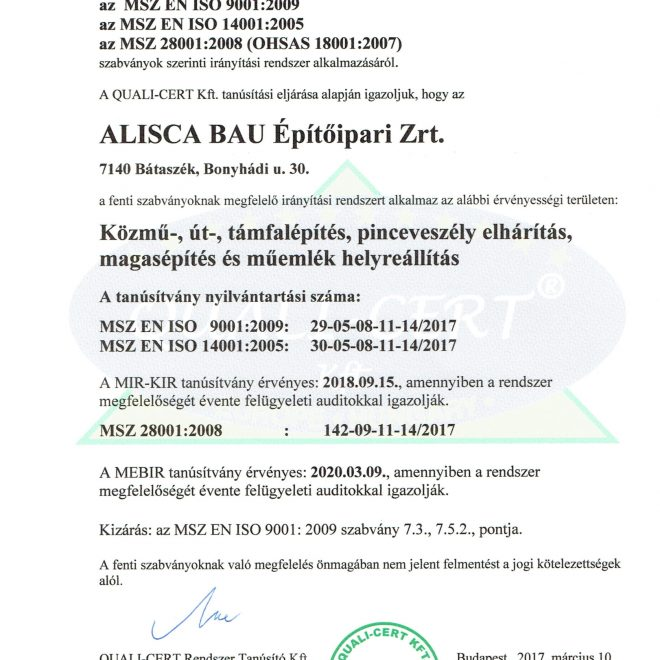 2017.03.10. tanúsítvány magyar Alisca_Bau MIR-KIR-MEB 2017.05.23-1