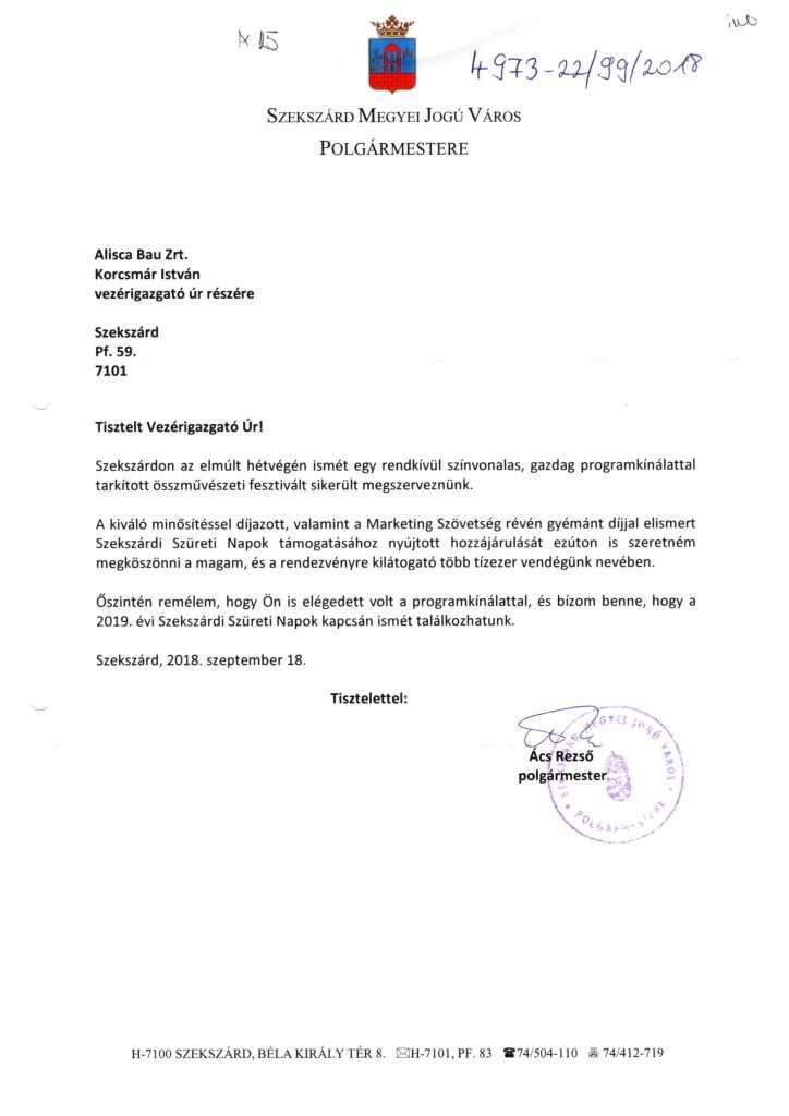 2018.09.18. Köszönőlevél a Szekszárdi Szüreti Napok támogatásáért-1