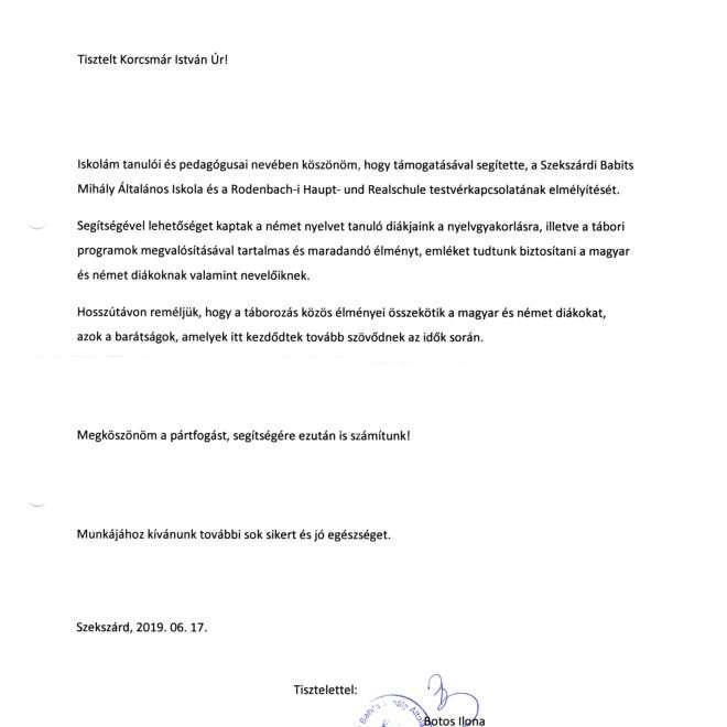 2019.06.17. Köszönőlevél a Rodenbach-i Haupt- und Realschule testvérkapcsolat támogatásáért-1